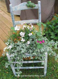 Chair planter - I usually upcycle one from someone's trash. cute idea!