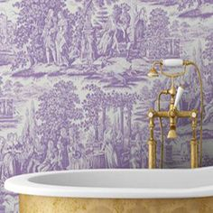 [CasaGiardino] ♡ trend: 2014 Pantone color: radiant orchid ~ toile for the bath. Pink Love, Pink And Gold, Pretty In Pink, Hot Pink, Pink Wallpaper, Wall Wallpaper, Chandeliers, Beautiful Bathrooms, Bathroom Inspiration