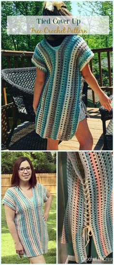 Tied Cover Up Crochet Free Pattern - #Crochet; Beach Cover Up Free Patterns