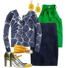 Love the kelly green top and navy skirt combo - would swap out the sweater for a navy jacket, wear my pearl knob earrings and would wear a different shoes, the yellow belt maybe.