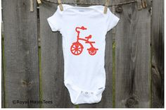 This adorable vintage inspired tricycle onesies® is a perfect bicycle themed baby shower gift. It is just waiting to be worn by the little one in your life! Please select the size and design color from the drop down menus above.    100-percent cotton Onesies® (Gerber) brand with a soft tricycle commercial heat transfer made by me and applied by me with a commercial heat press.    THESE ONESIES RUN SMALL SO YOU MAY WANT TO SIZE UP.  Size Weight (lbs) Height (inches)  Newborn (NB) 5-8 lbs…