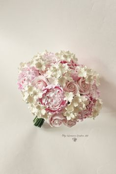 Alternative wedding bouquet Keepsake Hydrangea Pink Ivory Bridal Bouquet Blush Pink peony bouquet clay flowers bouquet clay bouquet
