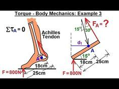 Physics - Mechanics: Ch 15 Torque (15 of 27) Body Mechanics: Ex. 3, F=? on Achilles Tendon*** - YouTube