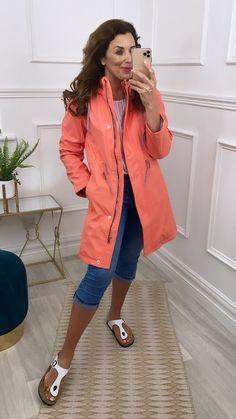 Light rain jacket, hooded jacket, coral rain jacket, summer jacket, casual jacket, coral jacket Lightweight Rain Jacket, Bag Icon, Long A Line, Online Boutiques, Drawstring Waist, Fashion Online, Charlotte, Size 12, Raincoat
