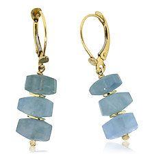 Aquamarine and 18k Earrings by Rona Fisher (Gold & Stone Earrings)