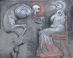 Franciszek STAROWIEYSKI (1930-2009)  Kłótnia węgiel, kreda, sangwina; płótno; 195 x 255 cm