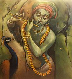 Krishna Radha, Lord Krishna, Figure Painting, Painting & Drawing, Krishna Painting, Buddha Art, Krishna Images, Indian Art, Pottery Art