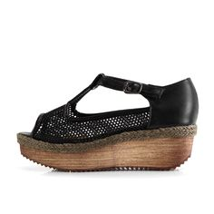 Black PU Sandals with Hollow out net yarn