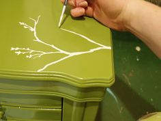 How to add hand-painting to furniture - we are going to make Jen a tree vanity I can't wait!