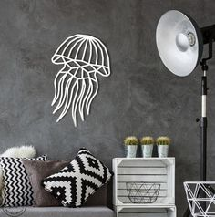 Jellyfish decor, Sea wall art, ocean home inspiration, metal wall art, Geometric wall art Geometric Wolf, Geometric Wall Art, Large Metal Wall Art, Extra Large Wall Art, Jellyfish Decorations, World Map Wall Art, Tiny Prints, Office Wall Art, Bathroom Wall Decor