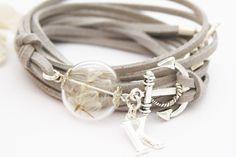 Wickelarmbänder - Echte Pusteblume Wickelarmband personalisierbar - ein Designerstück von Lavafan bei DaWanda