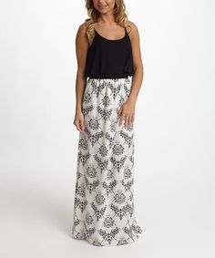Look what I found on #zulily! Black Damask Maxi Dress #zulilyfinds $27
