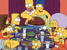 "simpsons parodies of Norman Rockwell's ""Freedom From Want"" painting."