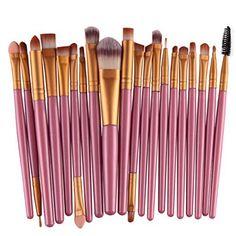 Voberry® Professionnel 20 pcs/set Pinceaux – Brosse de Maquillage / Brush Cosmétique Beauté & Make-up Manche en Bois Or (I): Tweet…