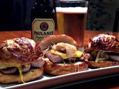 Oktoberfest German Party Bites: Bratwurst Sliders on Pretzel Buns with Beer Cheese sauce