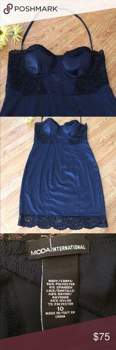 SEXY VS CAMISOLE SLIP DRESS BLUE PADDED CAMISOLE WITH BLACK LACE SLIP DRESS! SEXY FEELS LIKE SILK  Victoria's Secret Dresses Mini