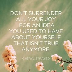 "This makes me think of my dear friend Cheryl who passed away this year""😌💗.""Don't surrender all your joy for an idea you used to have about yourself that isn't true anymore. Great Quotes, Quotes To Live By, Me Quotes, Inspirational Quotes, Work Quotes, Super Quotes, Funny Quotes, Mantra, Cheryl Strayed Quotes"