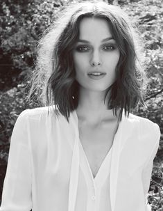 Chic Style - Kiera Knightley with a soft wavy bob & white blouse