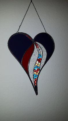 A Valentine Stained Glass Heart Sun Catcher by dmkmglassworks