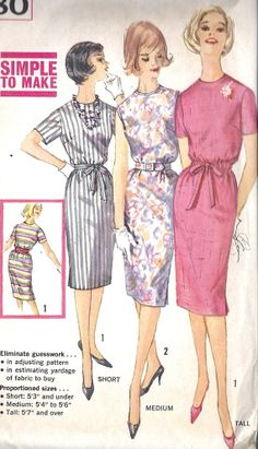 1960s Misses Slim Dress Vintage Sewing Pattern by MissBettysAttic, $8.00