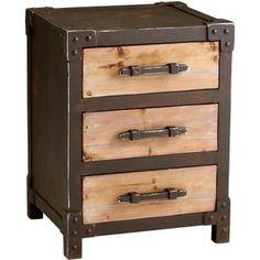 Raw steel & wood storage table