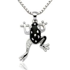 "925 Sterling Silver Rhodium Plating Black Frog Enamel White CZ Stone Pendant Necklace, Women and Teen Jewelry 18'' - Nickel Free Chuvora. $33.99. More frog jewelry available in Chuvora store. Please search Amazon for ""Chuvora frog"". Pendant Size: 1.5 x 2.7 cm. Silver Necklace Length: 18''. Packaging: Black Velvet Pouch. Weight: 4.3 g.. Marked .925 Sterling Silver"