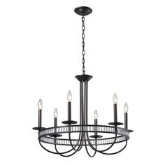 10241/6   Braxton 6 Light Chandelier In Aged Bronze And Clear Ribbed Glass - 10241/6