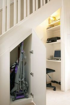 """Ok this one SO beats the under-stairs drawers I posted… what a great way to make more space!  My computer would totally be named """"CupboardUnderTheStairs"""" on the network B-)"""