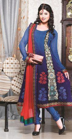 $100.21 Blue Full Sleeve Faux Georgette Long Anarkali Salwar Kameez 20784