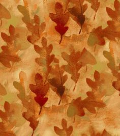 Autumn Inspirations Fabric- Painted Leaves Glitter