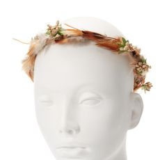 Tan Feather and Seeds Hair Garland