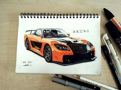 Rx7 Rx7, Car Drawings, Copic, Cars, Vehicles, Gift, Draw, Drawings Of Cars, Autos