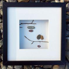 Unique wedding gift from Ireland, personalized pebble art love memento. Also for anniversary or engagement gift. Original, handmade, Irish