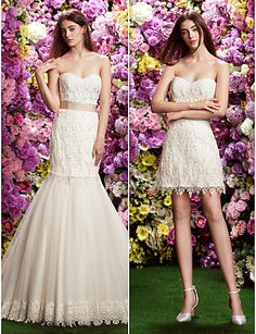 Fit & Flare Sweetheart Court Train Wedding Dress (Lace/Tulle) - USD $ 499.99