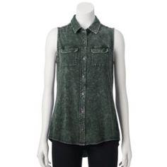 Rock & Republic Sleeveless Denim Shirt - Women's
