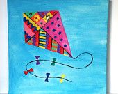 "Fairground Circus - Kite - Hand Painted Canvas - 8"" x 8"" - Children's/Nursery Wall Art Picture"