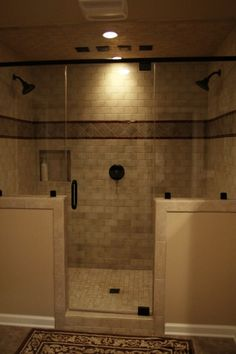 I like the border around glass door and brick tile in shower. Might use different combo of tile shapes and sizes and decorative strip. Half Walls, Bathtub, Shower, Glass, Bathroom, Alcove, Bath Tube, Rain Shower Heads, Bath Tub
