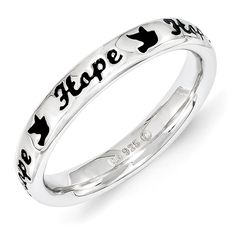 Stackable Expressions Sterling Silver Black Enamel Hope Ring