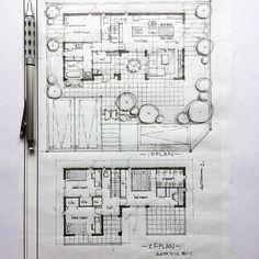 ・ 40坪の住まい ・ お風呂から眺める坪庭、玄関やキッチンから眺める中庭、ダイニングからのデッキスペース、リビングからのテラス。外の繋がりを楽しむ住まい。 ・ #手描き#マイホーム計画#間取り#間取り図#注文住宅#建築#住宅#家#マイホーム#暮らし#インテリアデザイン#インテリア#中庭#坪庭#テラス#ウッドデッキ#フリーハンド#新築一戸建て#デザイン#自由設計#バスコート#暮らしを楽しむ#interiorsketch#archsketch#pencilsketch#pencilart#archidesign#archilovers#arch_arts#floorplan