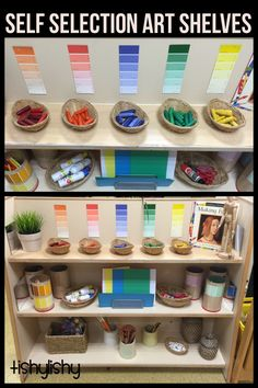 Love this art shelf and the color coding of everything. This shows children the different shades of colors.