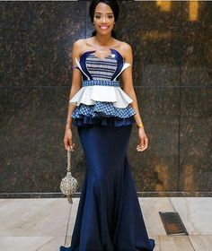 shweshwe dresses trends of 2019 - Reny styles Traditional Dresses Designs, African Traditional Wedding Dress, Traditional Wedding Attire, African Wedding Dress, African Print Dresses, Traditional Fashion, African Fashion Dresses, African Attire, African Dress