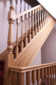 Abbott-Wade breathes new life into a Derbyshire home by transforming their staircase with beautiful turned oak spindles and newels. Wooden Staircase Railing, Stair Railing Design, Interior Staircase, Stair Handrail, Stair Decor, Wooden Stairs, Door Design, Pictures, Anaconda