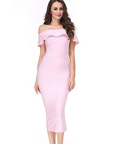 online shopping for UONBOX Women's Fluted Mid-Calf Off Shoulder Party Bandage Dress With Back Split from top store. See new offer for UONBOX Women's Fluted Mid-Calf Off Shoulder Party Bandage Dress With Back Split Pink Bandage Dress, Pink Midi Dress, Strapless Mini Dress, Dress Skirt, Bodycon Dress, Pink Dresses, Womens Cocktail Dresses, Birthday Dresses, Party Dresses