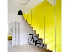 Professionals in staircase design, construction and stairs installation. In addition EeStairs offers design services on stairs and balustrades. Interior Stairs, Interior Exterior, Interior Architecture, Stairs Architecture, Yellow Stairs, Yellow Walls, Yellow Sofa, White Walls, Escalier Design