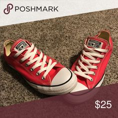 Converse Chuck Taylor Sneakers Bright pink Chuck Taylor Converse sneakers, worn once Converse Shoes Sneakers