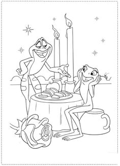 Dinner Of Prince Frog Coloring Pages