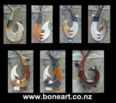Traditional Maori wearable hooks carved in bone, wood and pearl shell. www.boneart.co.nz