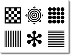 Black and white infant visual development stimulation card (printable pdf... or just draw it with a marker) Best distance is 8-12 inches from infant's eyes
