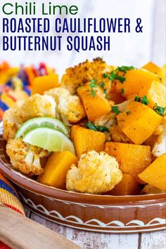 Spicy Roasted Cauliflower and Butternut Squash with chili powder for just a hint of heat, smoky cumin, and the zing of lime, will add a little kick to your dinner side dish. These veggies are so easy to make and are sure to disappear in no time! Homemade Vegetable Soups, Kale Chip Recipes, Roasted Vegetable Recipes, Roasted Vegetables, Veggie Recipes, Veggies, Fall Recipes, Dinner Side Dishes, Healthy Side Dishes