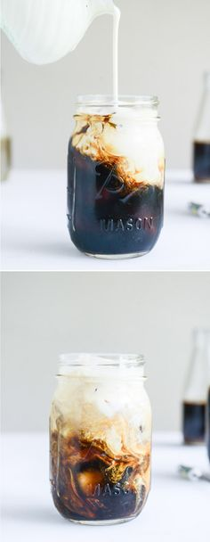 My favorite cold brew coffee with homemade syrups in vanilla bean, blackberry, cinnamon sugar and almond. I howsweeteats.com